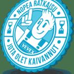 Vevex Kylpyhuonehuolto -Stamp. Kuvastaa kylpyhuonehuollon nopeutta mm. kylpyhuoneremonttia vastaan.